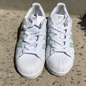 adidas Shoes - Mint and White Adidas Superstars